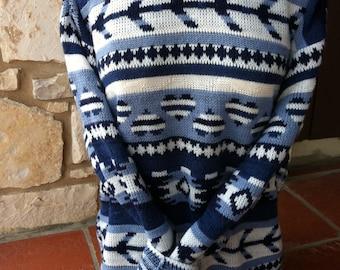 Southwest Blues Knit FairIsle Pullover Sweater