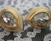 Large Tear Drop Crystal and Enamel Clip On Earrings Vintage Cream Gold Crystal Free Shipping in USA