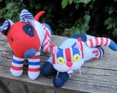 HOT DOG & CATsup, no BBQ should be without either one of these 2 repurposed sock toys in red, white and blue