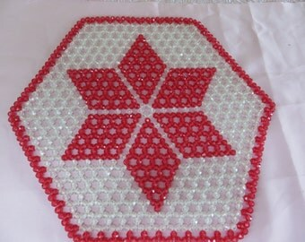 Big Red and White Plastic Faceted Pony Bead Christmas Decor