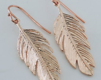 Rose Gold Earrings - Feather Earrings - Bohemian Earrings - handmade jewelry