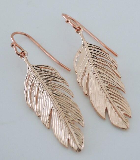 rose gold earrings feather earrings boho earrings pink. Black Bedroom Furniture Sets. Home Design Ideas