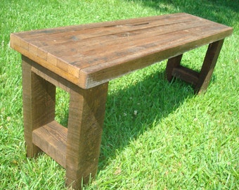 Bench, Wood Bench, Gnarly Bench, Rustic Reclaimed Wood Bench