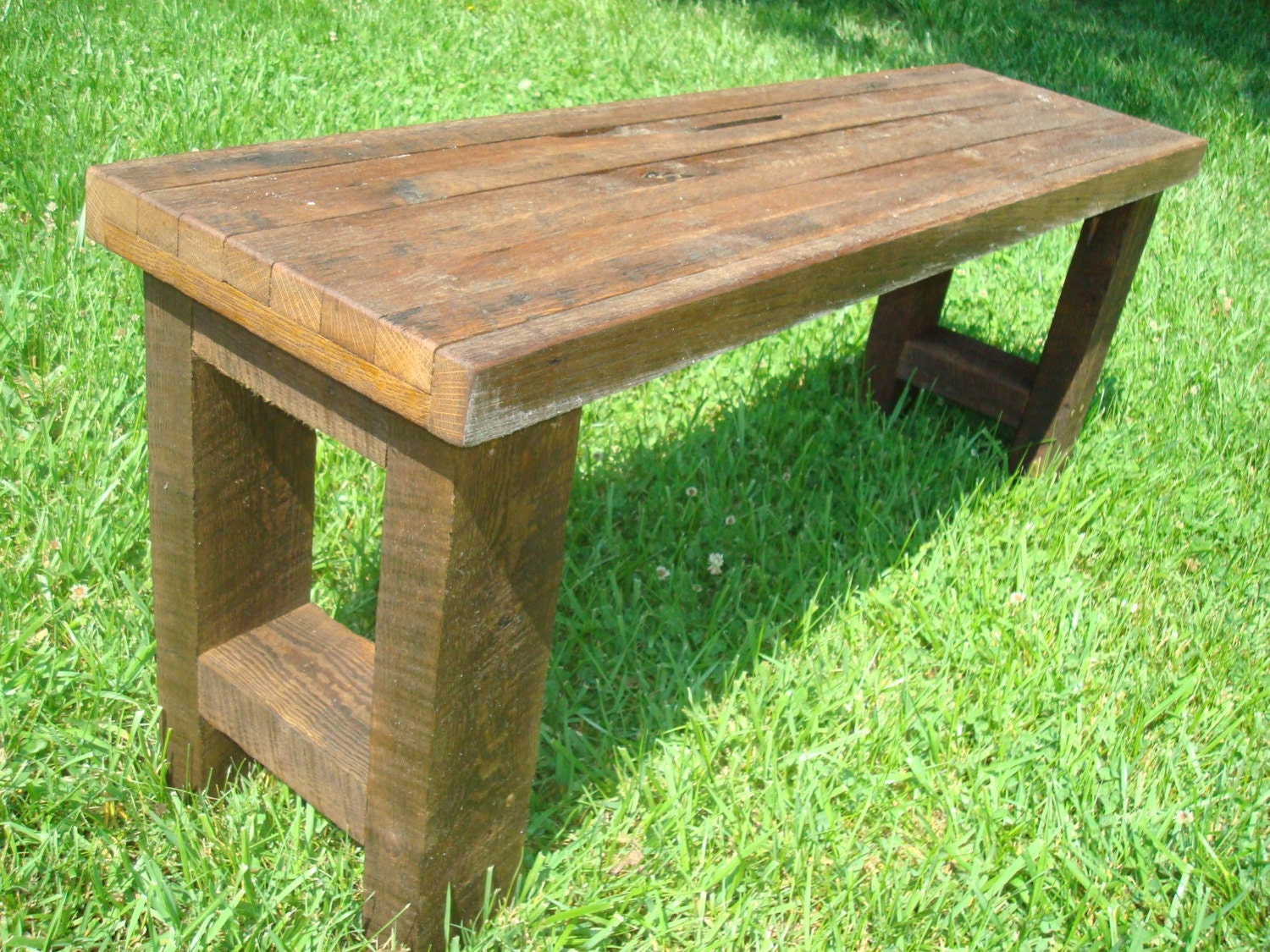Bench wood gnarly rustic reclaimed