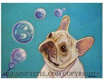 French Bulldog Painting art French Bulldog painting art  bubbles Frenchie Original Painting