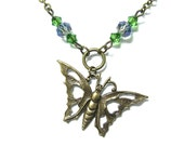 Steampunk Necklace Antiqued Bronze Toned Butterfly Charm Beaded with Swarovski and Czech Glass -by Mechanique Steampunk