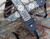 Black and Tan Fleur Leather and Suede Camera Strap