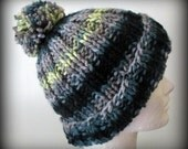 Black deep green gray hand knit acrylic pom pom hat