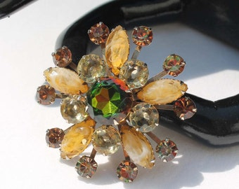 Vintage Vitrail and Beige Givre Rhinestone Brooch