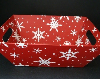 3-set of three gift baskets-Holiday Winter Snowflake Market Basket Gift Trays-HOLIDAY GIFTS
