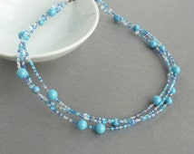 Turquoise Multi Strand Necklace - Caribbean Blue Bridesmaids Necklace - Twisted Sky Blue Pearl and Crystal Necklaces - Wedding Jewelry