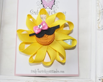 Sun Ribbon Sculpture Bow. Summer Sun Clip. Yellow Sun with Sunglasses Sculpture Ribbon Hair Clip.  Free Ship Promo.