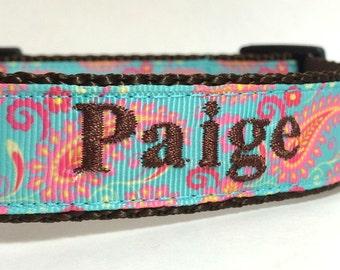 Personalized Dog Collar- Paisley Dog Collar- adjustable