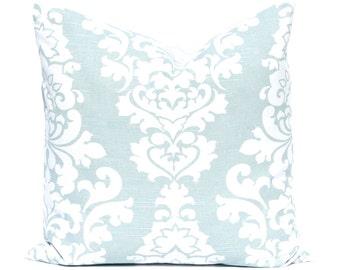 Aqua Pillows, Decorative Throw Pillow Covers One Aqua Sea Foam Damask Pillow Aqua Cushion Cover Toss Pillow Throw Pillows Sofa