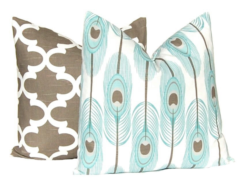 Decorative Pillow Covers Brown and Aqua Feathers and