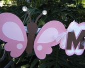 Pink and brown Butterfly NAME BANNER