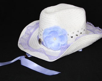 Ladies Cowgirl Hat - Womens Cowboy Hat - Woman Western Hat - White and Lavender Lace Hat  - LCB2