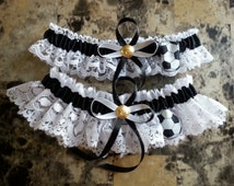 Soccerball white Lace Wedding Garter Set, and black satin ribbon. customized.