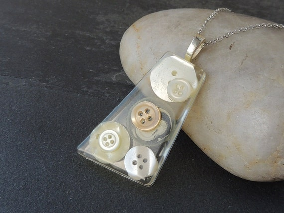 Cream Button Pendant, Buttons in Resin Pendant,  Recycled, Upcycled, Repurposed, Resin Jewelry, Button Jewelry