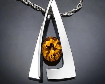 citrine necklace, statement necklace, November birthstone, modern jewelry, Argentium silver, tension set, artisan jewelry, bold - 3483