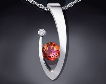 mystic topaz pendant, statement necklace, Argentium silver necklace, white sapphire, sunrise mystic topaz,  tension set, artisan gift - 3418