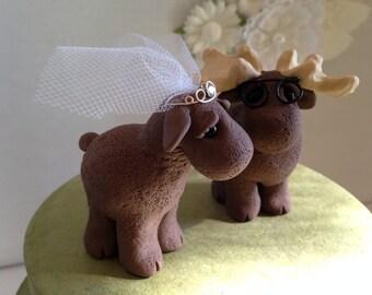 Moose Wedding Cake Topper