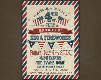 4th of July BBQ Cookout  Invitations Printable File, Independence Day, Vintage, Fireworks