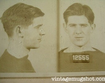 1941 MUG SHOT Allegheny  County  Pa Police 21 year Old Man  in Sweater Criminal Booking Photo