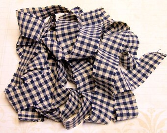 1 yard Homespun Cotton Fabric Ribbon Navy Blue Check