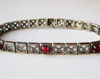 Vintage 20s Sterling Silver Filigree Jeweled Link Bracelet