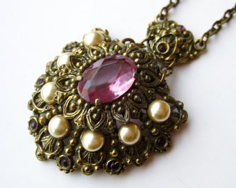 Vintage 50s 60s Victorian Revival Faceted Amethyst Glass Gold Baroque Pearl Pendant Necklace