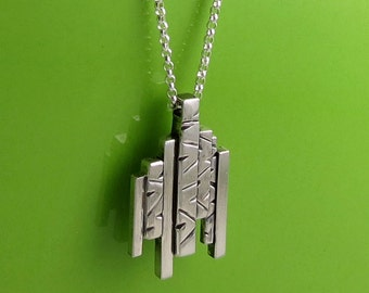 Modern Sterling Silver Geometric Architectural Pendant Necklace