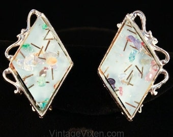 50s Pale Blue Confetti Lucite Clip Earrings - Spring Thermoset Plastic - 1950s Rockabilly - Mid Century - Kitsch - Marked Pamoli - 35622-1
