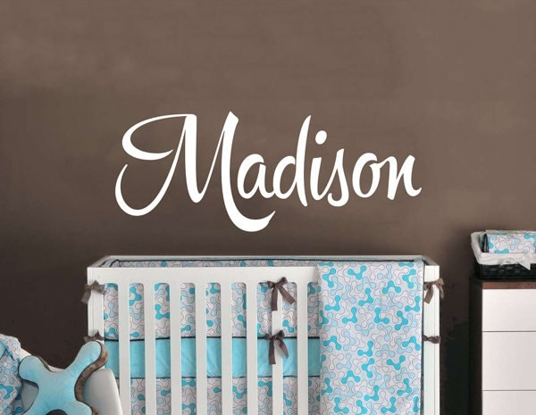 Baby name wall decal shower gift baby room wall decor for Baby shower wall mural