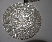 Vintage Carved Mother of Pearl Pendant Necklace with Dove Motif