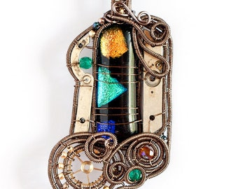 OOAK Black green blue and yellow steampunk fused glass wire wrapped pendant