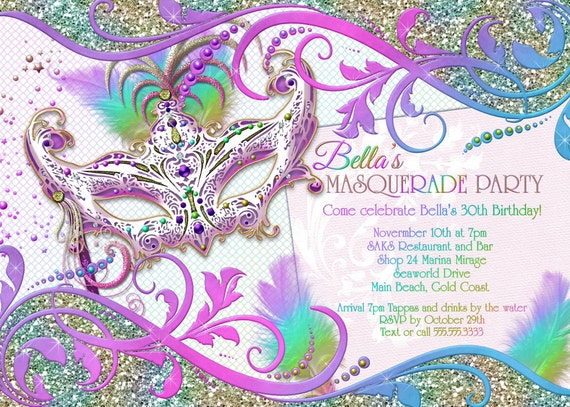 Masquerade Party Invitation Masquerade Party Mardi Gras – Mask Invitations Masquerade Party