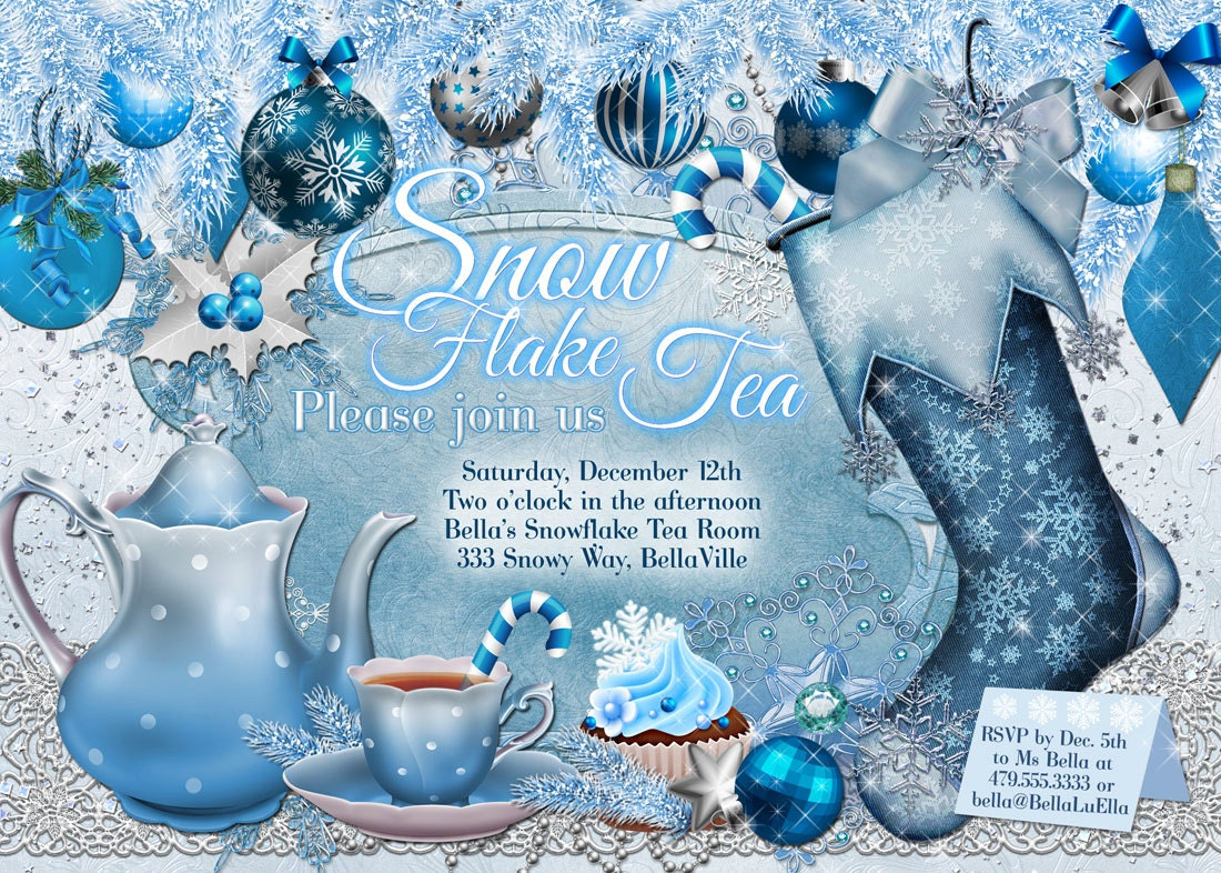 Snowflake Tea Party Christmas Tea Party Invitation Holiday – Snowflake Party Invitations