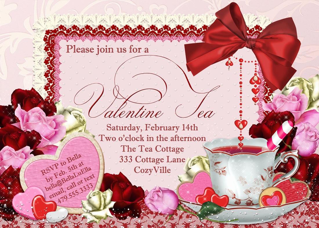 Valentine Tea Party Invitation Valentines Day Party Tea
