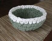 Rag Bowl Crocheted-Sage Green, White - Repurposed - Crochet Rag Bowl - Crochet Basket - Crocheted Green Bowl - Crocheted Bowl