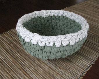 Rag Bowl Crocheted-Sage Green, White - Repurposed - Crochet Rag Bowl - Crochet Basket - Crocheted Green Bowl - Crocheted Bowl