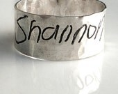 Valentines Day/ Handwriting Jewelry-Mans Silver Ring-personalized Wedding Band-Sizes 9-13