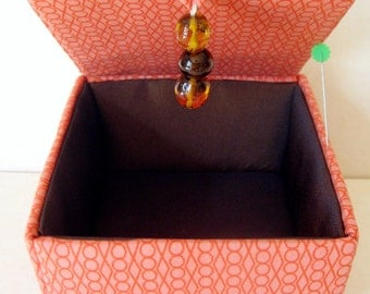 Orange fabric jewelry box, keepsakes box or decorative storage box