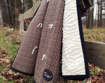 Throw Blanket Balmoral - Plaid Prince of Wales - Faux Fur - Zebra - Exclusive - Classical and folk art - Quilt