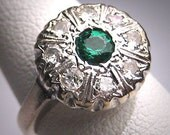 Antique Emerald Diamond Wedding Ring Vintage Art Deco Wht Gold 1920
