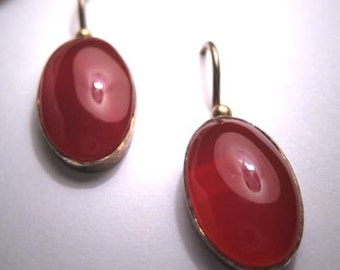 Vintage Carnelian Earrings Silver Victorian Art Deco