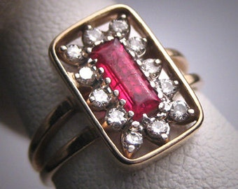 Antique Vintage Ruby Diamond Wedding Ring 14K Estate Retro Art Deco 1950