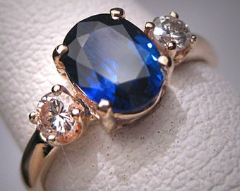 Antique Vintage Sapphire Diamond Wedding Ring Art Deco Engagement