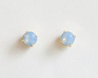 Blue Opal Stud Earrings | Blue Stud Earring | Blue Earrings | Swarovski Stud Earrings