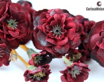 Primroses - Pom Pom Roses in BURGUNDY - VERY SMALL Flowers - Artificial Flowers, Flower Crowns
